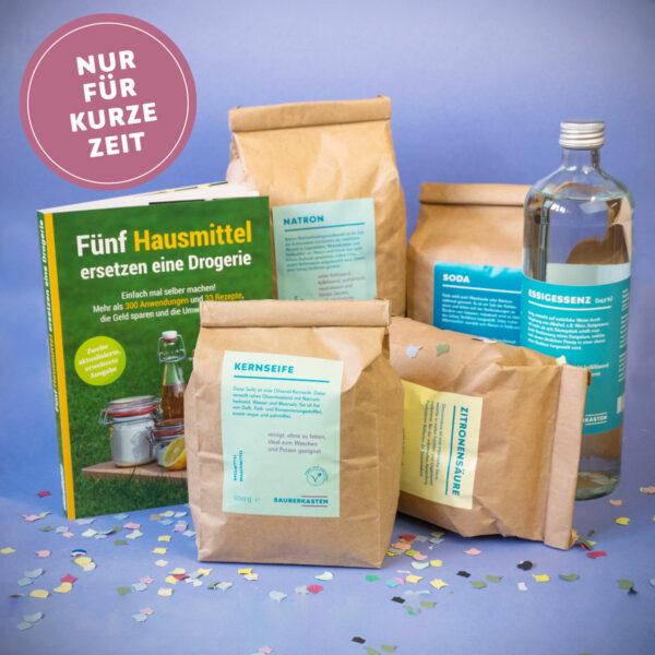 """Buch """"Fünf Hausmittel ersetzen eine Drogerie"""" mit Hausmitteln in großen Abpackungen"""