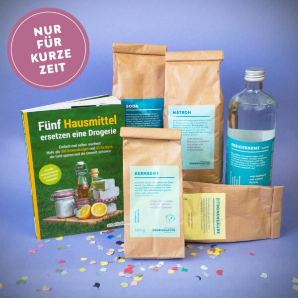 """Buch """"Fünf Hausmittel ersetzen eine Drogerie"""" mit Hausmitteln in kleinen Abpackungen"""